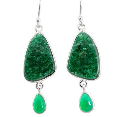 925 silver 20.40cts natural green moss agate chalcedony dangle earrings r86777