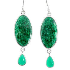 925 silver 21.01cts natural green moss agate chalcedony dangle earrings r86780