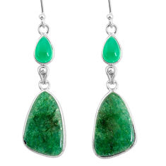 925 silver 17.60cts natural green moss agate chalcedony dangle earrings r86894