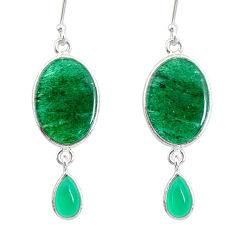 925 silver 14.14cts natural green moss agate chalcedony dangle earrings r86897