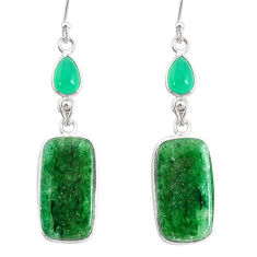 925 silver 19.18cts natural green moss agate chalcedony dangle earrings r86900