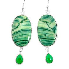 925 silver 25.25cts natural green opal chalcedony dangle earrings jewelry r86834