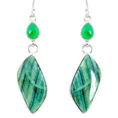 925 silver 20.70cts natural green opal chalcedony dangle earrings r86824