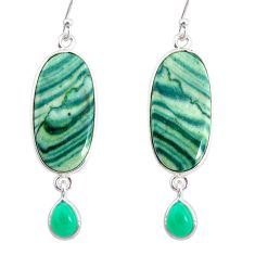 925 silver 19.30cts natural green opal chalcedony dangle earrings r86831