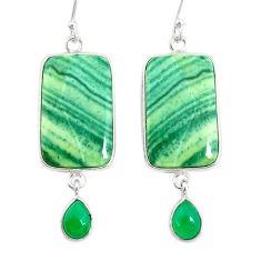 925 silver 23.90cts natural green opal chalcedony dangle earrings r86838