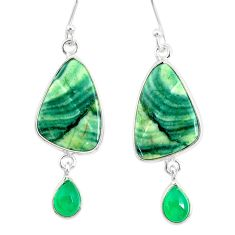925 silver 14.30cts natural green opal chalcedony dangle earrings r86857