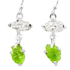925 silver 9.59cts natural green peridot rough herkimer diamond earrings t25668