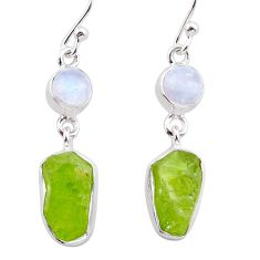 925 silver 13.28cts natural green peridot raw moonstone dangle earrings t38248