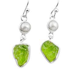 925 silver 11.66cts natural green peridot raw pearl dangle earrings t38184