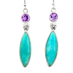 925 silver 15.34cts natural green peruvian amazonite amethyst earrings d45824