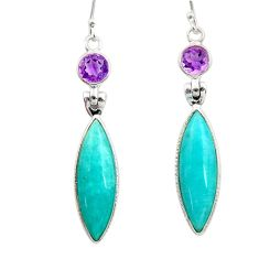 925 silver 14.67cts natural green peruvian amazonite amethyst earrings d45827