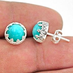 925 silver 6.27cts natural green peruvian amazonite crown stud earrings t43704