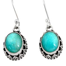 925 silver 6.59cts natural green peruvian amazonite dangle earrings d40404