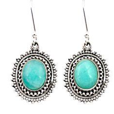 925 silver 7.89cts natural green peruvian amazonite dangle earrings d40634