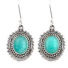 925 silver 8.80cts natural green peruvian amazonite dangle earrings d40638