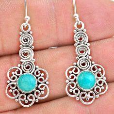 925 silver 2.12cts natural green peruvian amazonite dangle earrings t28223