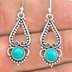 925 silver 1.81cts natural green peruvian amazonite dangle earrings t28304