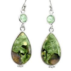 925 silver 18.18cts natural green rainforest rhyolite jasper earrings r28908