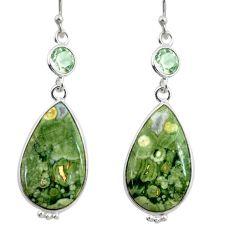 925 silver 18.15cts natural green rainforest rhyolite jasper earrings r28913