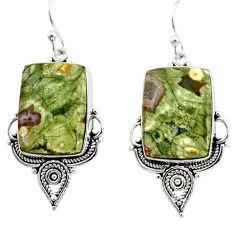 925 silver 21.48cts natural green rainforest rhyolite jasper earrings r30210