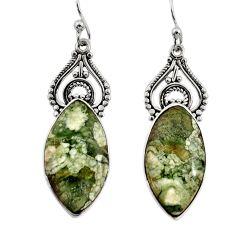 925 silver 17.91cts natural green rainforest rhyolite jasper earrings r30214