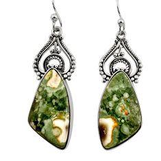 925 silver 17.65cts natural green rainforest rhyolite jasper earrings r30219