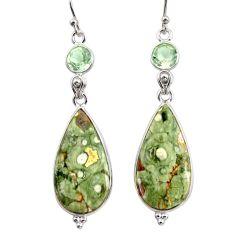 925 silver 18.62cts natural green rainforest rhyolite jasper earrings r30430