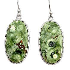 925 silver 19.34cts natural green rainforest rhyolite jasper earrings r30436