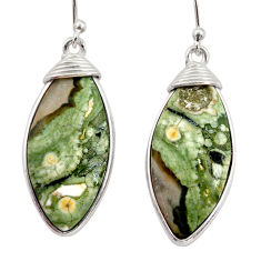 925 silver 17.49cts natural green rainforest rhyolite jasper earrings r30439