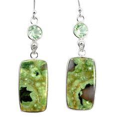 925 silver 20.40cts natural green rainforest rhyolite jasper earrings r75511