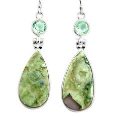 925 silver 17.90cts natural green rainforest rhyolite jasper earrings r75520