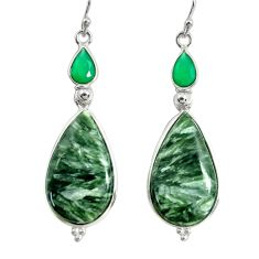 925 silver 17.53cts natural green seraphinite (russian) dangle earrings r29244
