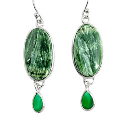 925 silver 17.53cts natural green seraphinite (russian) dangle earrings r29247