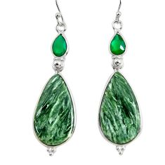 925 silver 18.17cts natural green seraphinite (russian) dangle earrings r29251