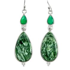 925 silver 18.17cts natural green seraphinite (russian) dangle earrings r29256