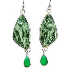 925 silver 16.88cts natural green seraphinite (russian) dangle earrings r29260
