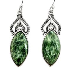 925 silver 19.29cts natural green seraphinite (russian) dangle earrings r29340
