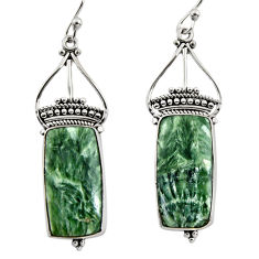 925 silver 17.18cts natural green seraphinite (russian) dangle earrings r30224