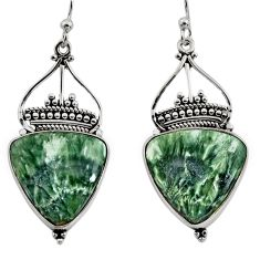 925 silver 17.02cts natural green seraphinite (russian) dangle earrings r30230