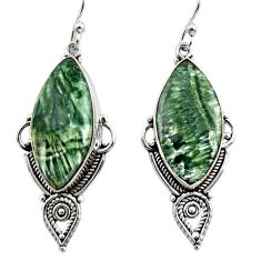 925 silver 16.57cts natural green seraphinite (russian) dangle earrings r30234