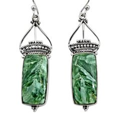 925 silver 17.57cts natural green seraphinite (russian) dangle earrings r30238