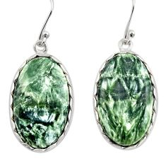 925 silver 19.34cts natural green seraphinite (russian) dangle earrings r30364
