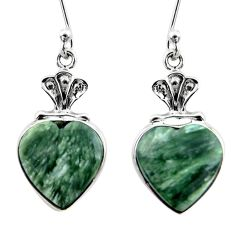 925 silver 11.69cts natural green seraphinite (russian) heart earrings r46812