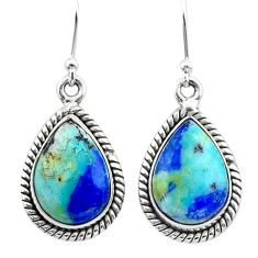 925 silver 12.67cts natural green turquoise azurite dangle earrings t37549