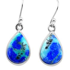 925 silver 12.06cts natural green turquoise azurite dangle earrings t37624