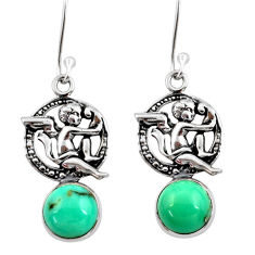 925 silver 6.54cts natural green turquoise tibetan angel earrings jewelry d40523