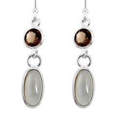 925 silver 7.53cts natural grey moonstone smoky topaz dangle earrings r68312