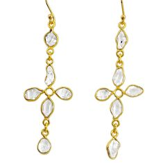 925 silver 10.06cts natural herkimer diamond 14k gold cross earrings r64195