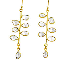 925 silver 11.23cts natural herkimer diamond 14k gold tennis earrings r64233