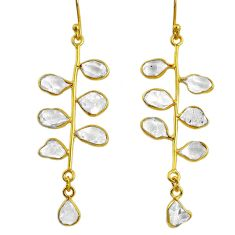 925 silver 10.65cts natural herkimer diamond 14k gold tennis earrings r64237